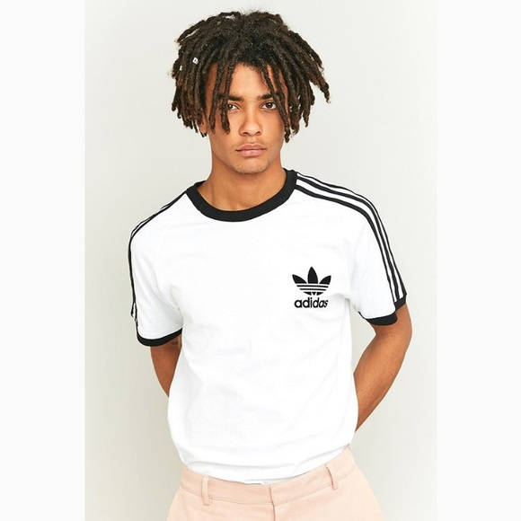 Adidas 3 stripes white & black ringer t-shirt NWT